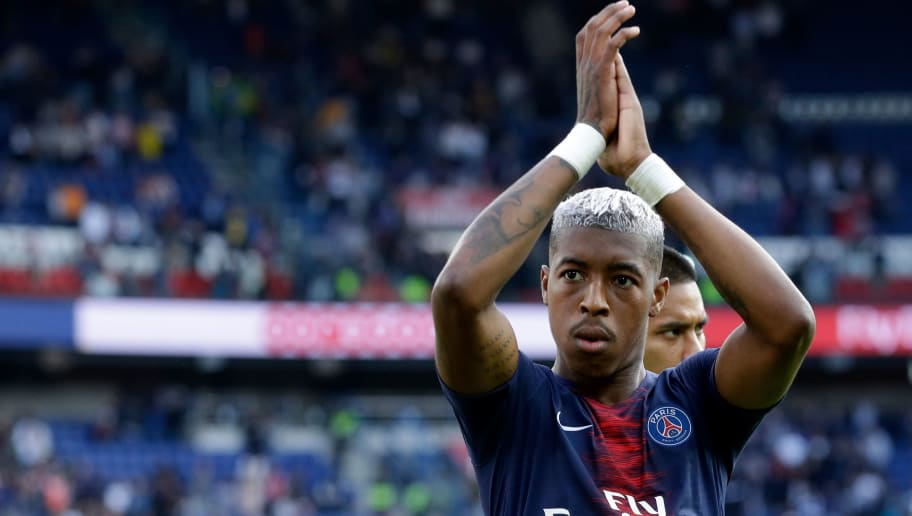 PARIS, FRANCE - AUGUST 25: Presnel Kimpembe of Paris Saint Germain celebrates the victory  during the French League 1  match between Paris Saint Germain v Angers at the Parc des Princes on August 25, 2018 in Paris France (Photo by Jeroen Meuwsen/Soccrates/Getty Images)