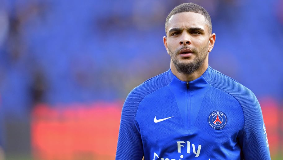 PARIS, FRANCE - MARCH 14:  Layvin Kurzawa of Paris Saint-Germain reacts during warmup before the Ligue 1 match between Paris Saint Germain and Angers SCO at Parc des Princes on March 14, 2018 in Paris.  (Photo by Aurelien Meunier/Getty Images)