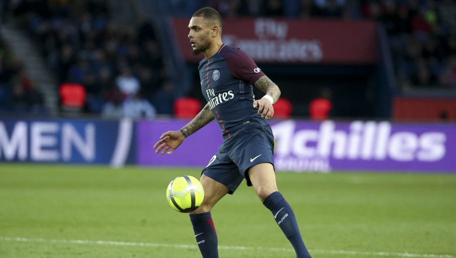 PARIS, FRANCE - MARCH 14: Layvin Kurzawa of PSG during the French Ligue 1 match between Paris Saint Germain (PSG) and SCO Angers at Parc des Princes stadium on March 14, 2018 in Paris, France. (Photo by Jean Catuffe/Getty Images)