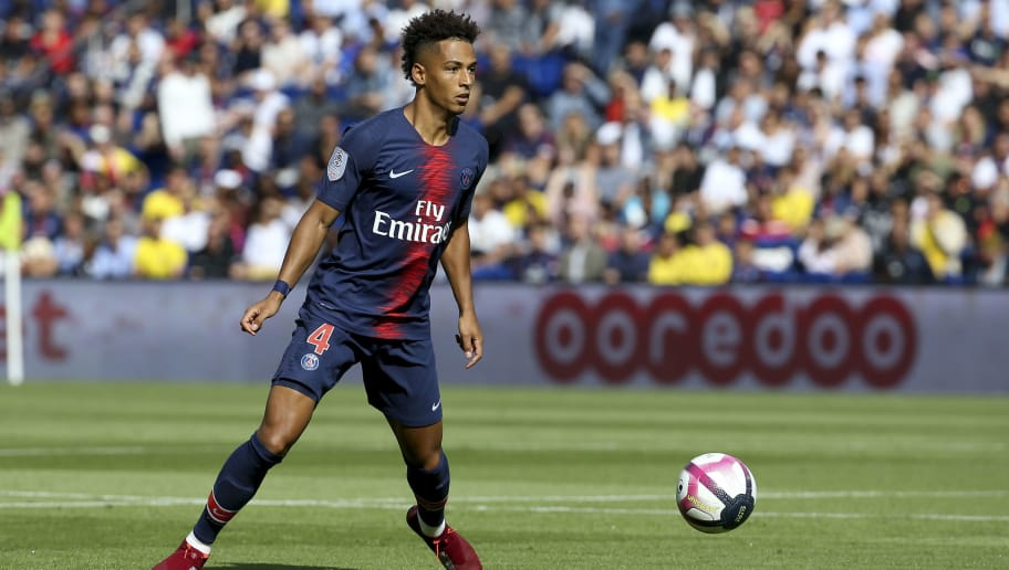 PARIS, FRANCE - AUGUST 25: Thilo Kehrer of PSG during the french Ligue 1 match between Paris Saint-Germain and SCO Angers at Parc des Princes stadium on August 25, 2018 in Paris, France. (Photo by Jean Catuffe/Getty Images)