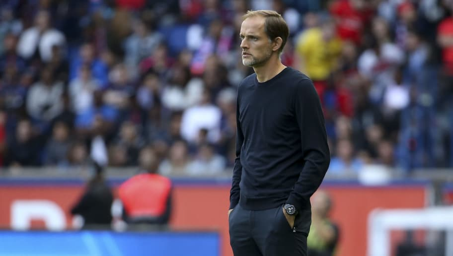 PARIS, FRANCE - AUGUST 25: Coach of PSG Thomas Tuchel during the french Ligue 1 match between Paris Saint-Germain and SCO Angers at Parc des Princes stadium on August 25, 2018 in Paris, France. (Photo by Jean Catuffe/Getty Images)