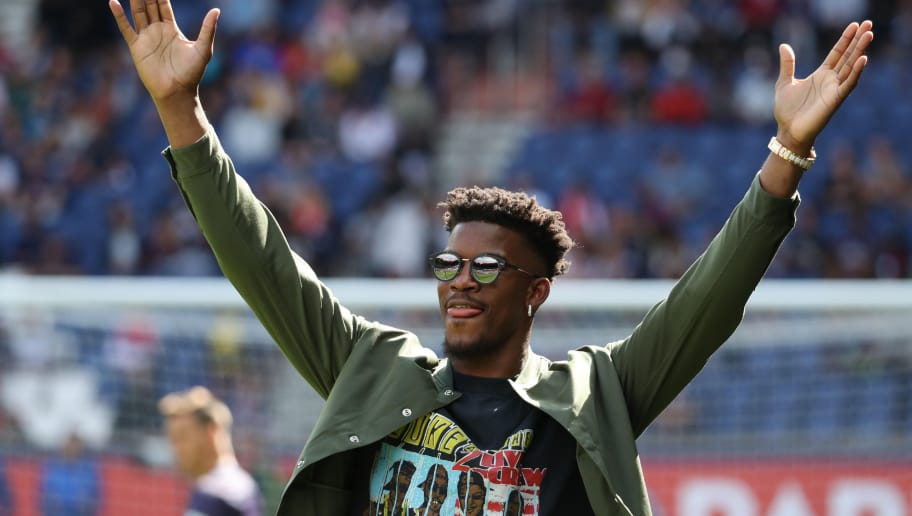 PARIS, FRANCE - AUGUST 25:  Jimmy Butler reacts during the Ligue 1 match between Paris Saint-Germain (PSG) and SCO Angers at Parc des Princes on August 25, 2018 in Paris, France.  (Photo by Xavier Laine/Getty Images)