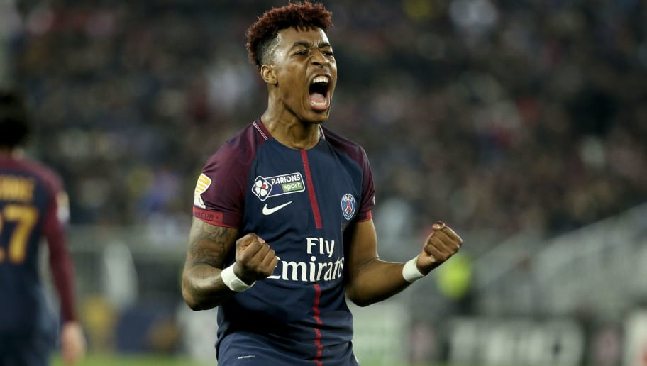 BORDEAUX, FRANCE - MARCH 31: Presnel Kimpembe of PSG celebrates the third goal of PSG during the French League Cup (Coupe de la Ligue) final between Paris Saint-Germain (PSG) and AS Monaco on March 31, 2018 in Bordeaux, France. (Photo by Jean Catuffe/Getty Images)