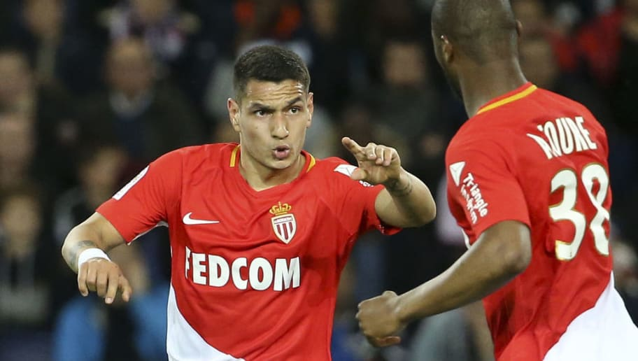 PARIS, FRANCE - APRIL 15: Rony Lopes of Monaco celebrates his goal with Almamy Toure during the Ligue 1 match between Paris Saint Germain (PSG) and AS Monaco (ASM) at Parc des Princes stadium on April 15, 2018 in Paris, . (Photo by Jean Catuffe/Getty Images)