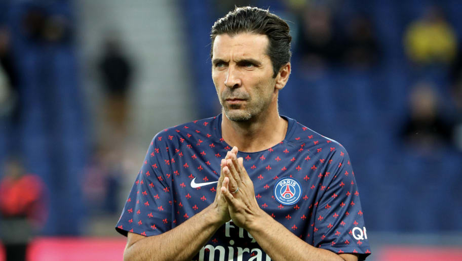 PARIS, FRANCE - SEPTEMBER 14:  Gianluigi Bufon of Paris Saint-Germain reacts during the French Ligue 1 match between Paris Saint Germain and AS Saint Etienne on September 14, 2018 in Paris, France.  (Photo by Xavier Laine/Getty Images)