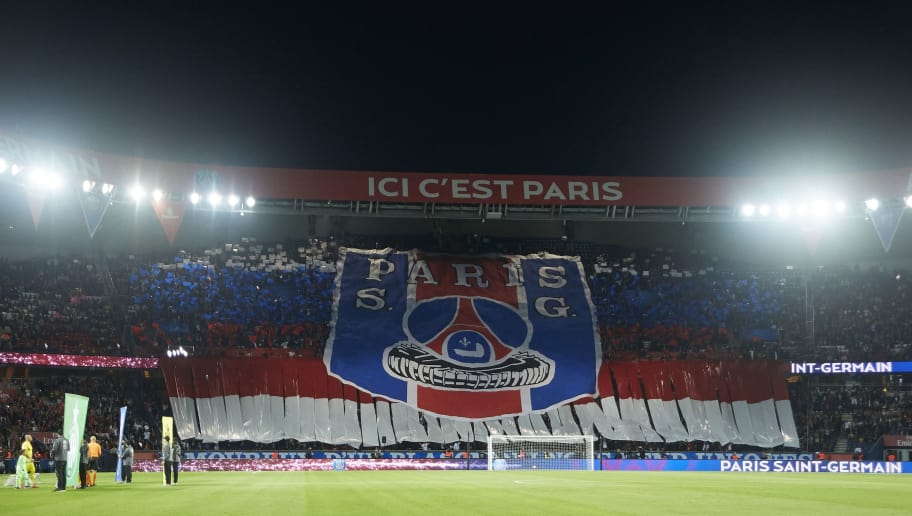 PARIS, FRANCE - SEPTEMBER 14:  Paris Saint-Germain fans display a tifo prior to the French Ligue 1 match between Paris Saint Germain and AS Saint Etienne at Parc des Princes on September 14, 2018 in Paris, France.  (Photo by Quality Sport Images/Getty Images )