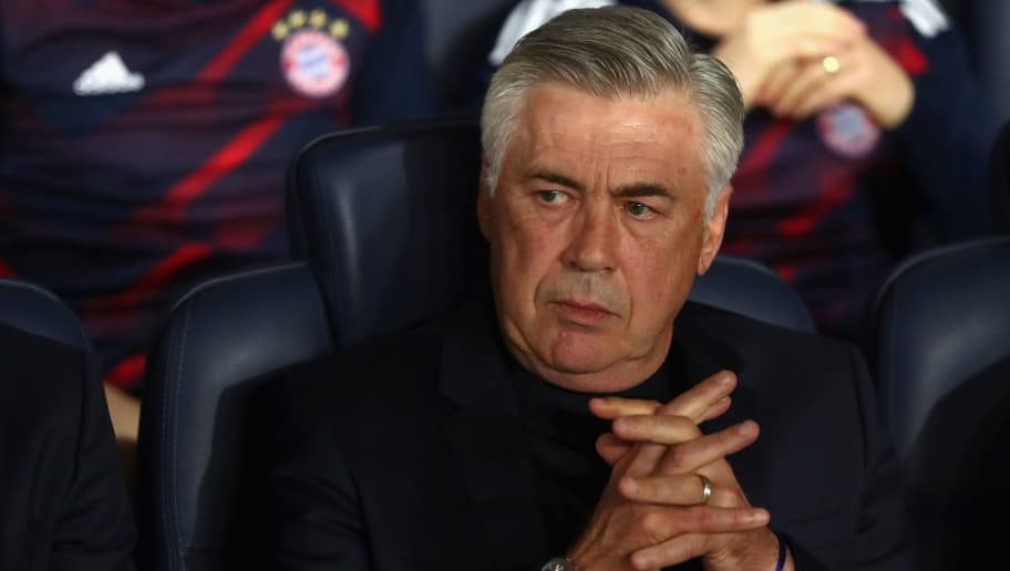 PARIS, FRANCE - SEPTEMBER 27:  Carlo Ancelotti, head coach of FC Bayern Muenchen  looks on prior to the UEFA Champions League group B match between Paris Saint-Germain and Bayern Muenchen at Parc des Princes on September 27, 2017 in Paris, France.  (Photo by Alexander Hassenstein/Bongarts/Getty Images)