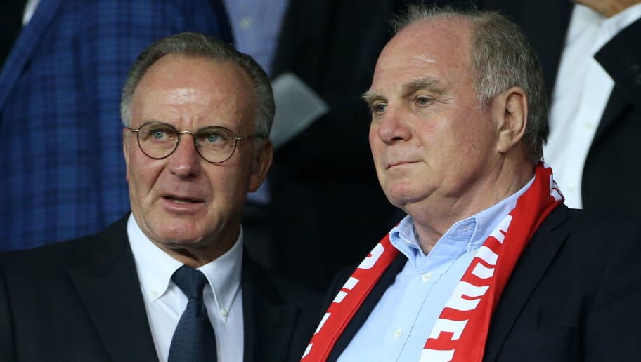 PARIS, FRANCE - SEPTEMBER 27: Karl-Heinz Rummenigge and Uli Hoeness from Bayern Munich attend the UEFA Champions League group B match between Paris Saint-Germain (PSG) and Bayern Muenchen (Bayern Munich) at Parc des Princes on September 27, 2017 in Paris, France. (Photo by Jean Catuffe/Getty Images)