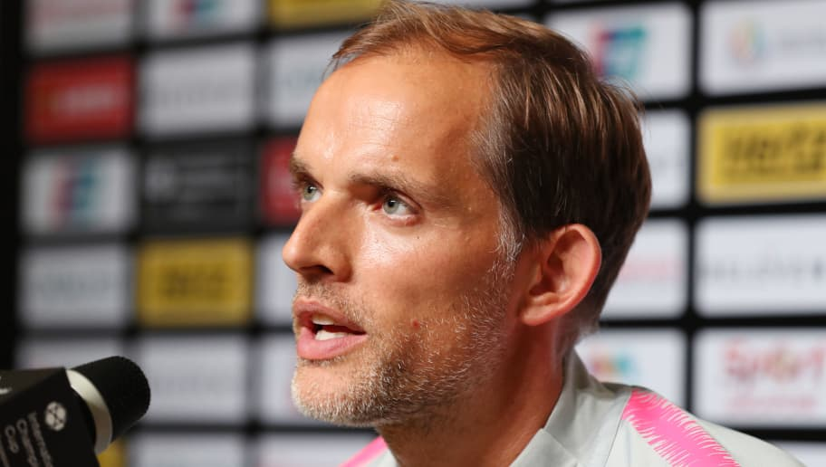 SINGAPORE, SINGAPORE - JULY 30: Paris Saint-Germain manager Thomas Tuchel attends a press conferencefollowing the International Champions Cup match between Paris Saint Germain and Club de Atletico Madrid at the National Stadium on July 30, 2018 in Singapore. (Photo by Paul Miller/Getty Images for ICC)