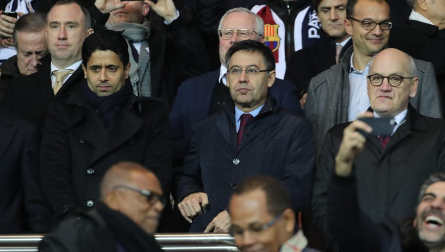 PARIS, FRANCE - FEBRUARY 14:  UEFA president Aleksander Ceferin, president Josep Maria Bartomeu of Barcelona FC and president Nasser Al-Khelaifi of Paris Saint-Germain attend during the UEFA Champions League Round of 16 first leg match between Paris Saint-Germain and FC Barcelona at Parc des Princes on February 14, 2017 in Paris, France.  (Photo by Xavier Laine/Getty Images)