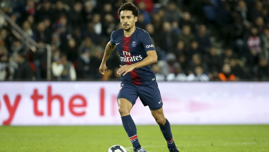 PARIS, FRANCE - DECEMBER 22: Marquinhos of PSG during the french Ligue 1 match between Paris Saint-Germain (PSG) and FC Nantes at Parc des Princes stadium on December 22, 2018 in Paris, France. (Photo by Jean Catuffe/Getty Images)