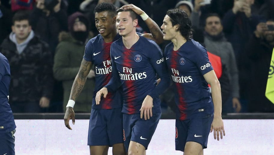 PARIS, FRANCE - DECEMBER 22: Julian Draxler of PSG celebrates his goal between Presnel Kimpembe and Edinson Cavani but the goal will be cancelled during the french Ligue 1 match between Paris Saint-Germain (PSG) and FC Nantes at Parc des Princes stadium on December 22, 2018 in Paris, France. (Photo by Jean Catuffe/Getty Images)