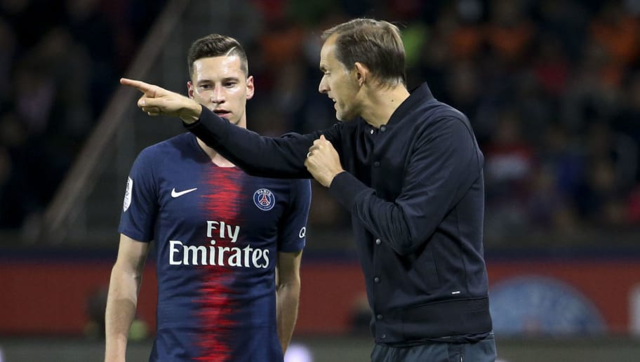 PARIS, FRANCE - NOVEMBER 2: Julian Draxler of PSG, coach of PSG Thomas Tuchel during the french Ligue 1 match between Paris Saint-Germain (PSG) and Lille OSC (LOSC) at Parc des Princes stadium on November 2, 2018 in Paris, France. (Photo by Jean Catuffe/Getty Images)