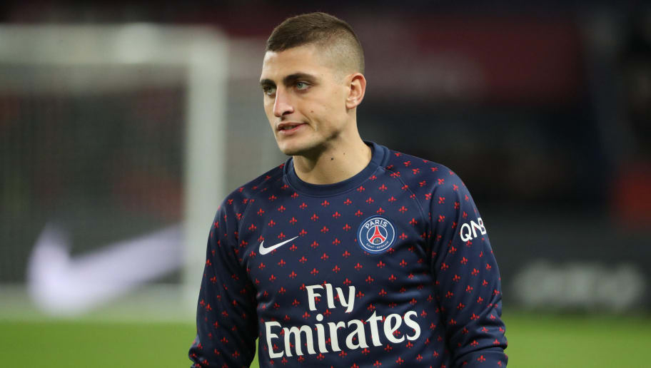 PARIS, FRANCE - NOVEMBER 02:  Marco Verratti of Paris Saint-Germain reacts during the French Ligue 1 match between Paris-Saint Germain and Lille OSC at Parc des Princes on November 2, 2018 in Paris, France.  (Photo by Xavier Laine/Getty Images)