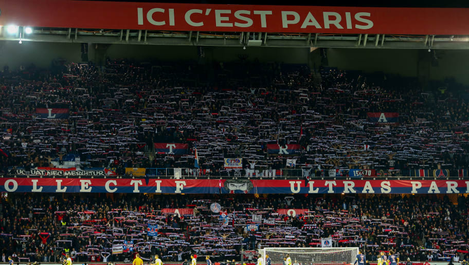 PARIS, FRANCE - NOVEMBER 02: A general view of fans of Paris Saint-Germain / PSG as they hold up scarves during the Ligue 1 match between Paris Saint-Germain and Lille at Parc des Princes on November 2, 2018 in Paris, France. (Photo by Robbie Jay Barratt - AMA/Getty Images)