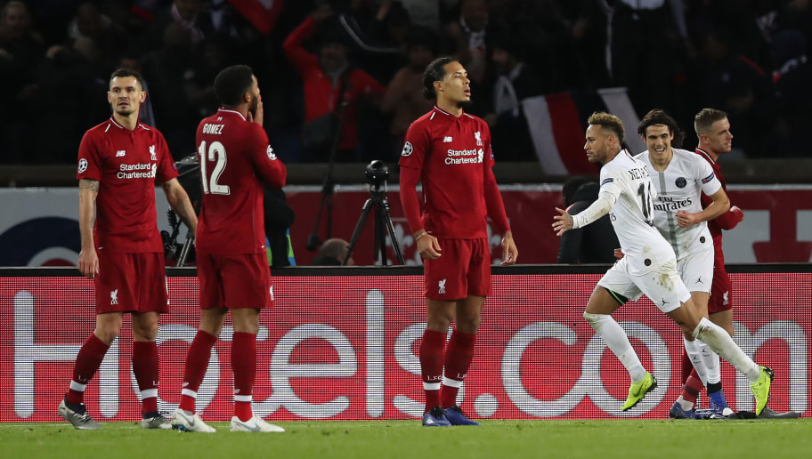 PARIS, FRANCE - NOVEMBER 28: Neymar of Paris Saint-Germain celebrates after he scores his team's second goal during the Group C match of the UEFA Champions League between Paris Saint-Germain and Liverpool at Parc des Princes on November 28, 2018 in Paris, France. (Photo by Ian MacNicol/Getty Images)