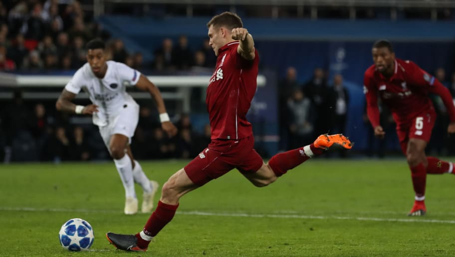PARIS, FRANCE - NOVEMBER 28: James Milner of Liverpool scores his team's opening goal from the penalty spotl during the Group C match of the UEFA Champions League between Paris Saint-Germain and Liverpool at Parc des Princes on November 28, 2018 in Paris, France. (Photo by Ian MacNicol/Getty Images)