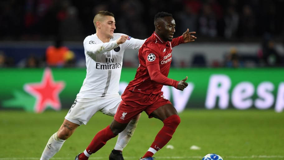 PARIS, FRANCE - NOVEMBER 28:  Marco Verratti of Paris Saint-Germain battles for possession with Naby Keita of Liverpool during the UEFA Champions League Group C match between Paris Saint-Germain and Liverpool at Parc des Princes on November 28, 2018 in Paris, France.  (Photo by Shaun Botterill/Getty Images)