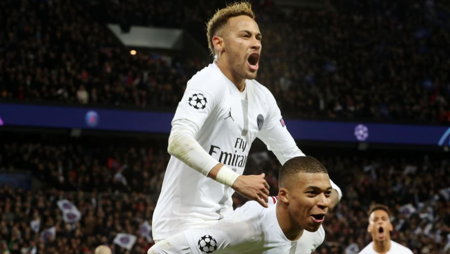 PARIS, FRANCE - NOVEMBER 28:  Neymar Jr of Paris Saint-Germain celebrate his goal with Kylian Mbappe during the Group C match of the UEFA Champions League between Paris Saint-Germain (PSG) and Liverpool FC at Parc des Princes on November 28, 2018 in Paris, France.  (Photo by Xavier Laine/Getty Images)