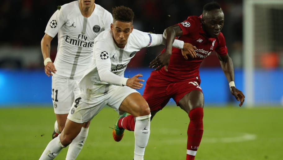 PARIS, FRANCE - NOVEMBER 28: Sadio Mane of Liverpool vies with Thilo Kehrer of Paris Saint-Germain during the Group C match of the UEFA Champions League between Paris Saint-Germain and Liverpool at Parc des Princes on November 28, 2018 in Paris, France. (Photo by Ian MacNicol/Getty Images)