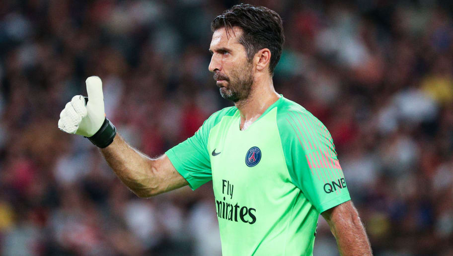 SHENZHEN, CHINA - AUGUST 04: Gianluigi Buffon of Paris Saint-Germain in action during the French Trophy of Champions football match between AS Monaco and Paris Saint-Germain at Shenzhen Longgang Sports Center on August 4, 2018 in Shenzhen, China. (Photo by Zhong Zhi/Getty Images)
