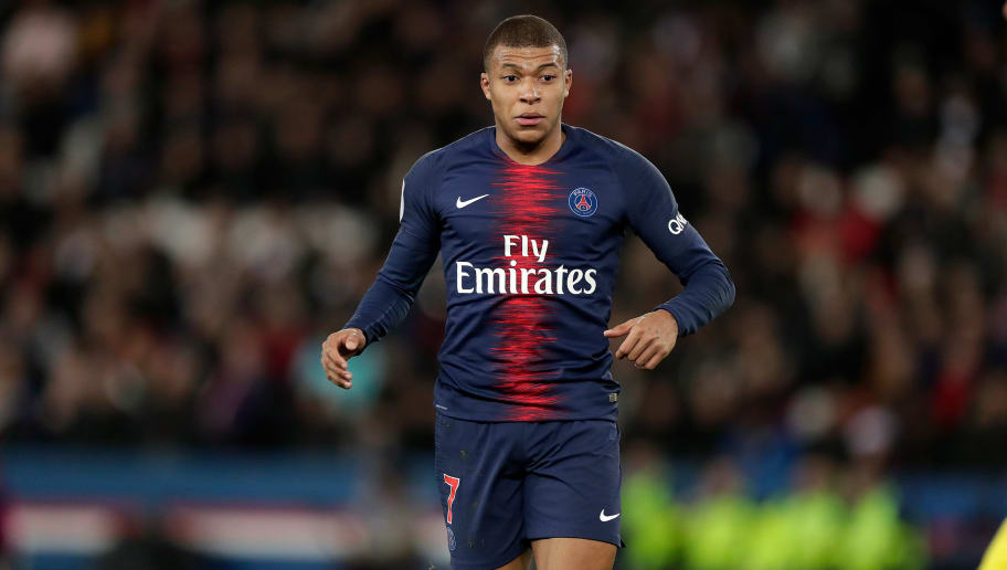 PARIS, FRANCE - DECEMBER 22: Kylian Mbappe of Paris Saint Germain  during the French League 1  match between Paris Saint Germain v Nantes at the Parc des Princes on December 22, 2018 in Paris France (Photo by Jeroen Meuwsen/Soccrates/Getty Images)