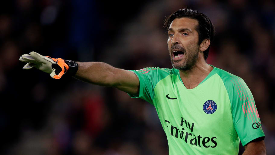 PARIS, FRANCE - OCTOBER 7: Gianluigi Buffon of Paris Saint Germain  during the French League 1  match between Paris Saint Germain v Olympique Lyon at the Parc des Princes on October 7, 2018 in Paris France (Photo by Jeroen Meuwsen/Soccrates/Getty Images)