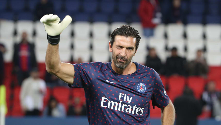 PARIS, FRANCE - OCTOBER 07:  Gianluigi Buffon of Paris Saint-Germain reacts during the French Ligue 1 match between Paris Saint Germain and Olympique Lyon on October 07, 2018 in Paris, France.  (Photo by Xavier Laine/Getty Images)