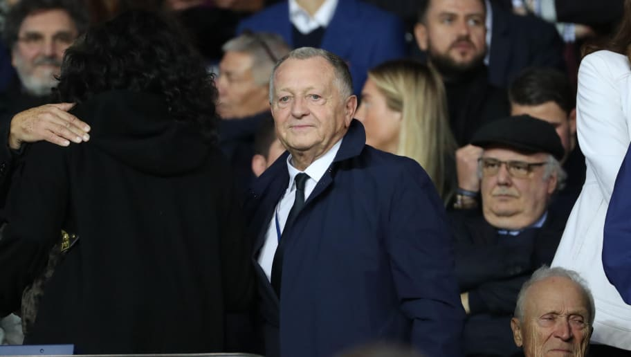 PARIS, FRANCE - SEPTEMBER 17:  Jean-Michel Aulas of Olympique Lyonnais reacts during the French Ligue 1 match between Paris Saint Germain (PSG) and Olympique Lyonnais  at Parc des Princes on September 17, 2017 in Paris  (Photo by Xavier Laine/Getty Images)