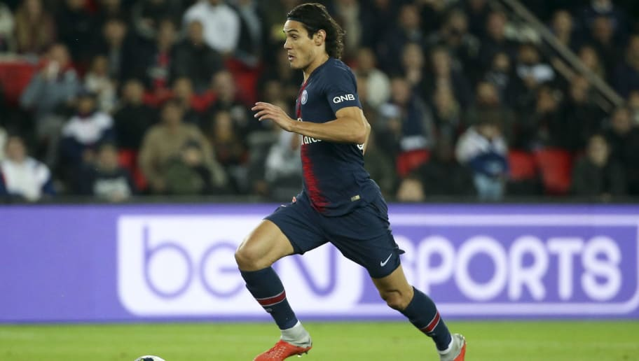 PARIS, FRANCE - OCTOBER 7: Edinson Cavani of PSG during the french Ligue 1 match between Paris Saint-Germain (PSG) and Olympique Lyonnais (OL, Lyon) at Parc des Princes stadium on October 7, 2018 in Paris, France. (Photo by Jean Catuffe/Getty Images)