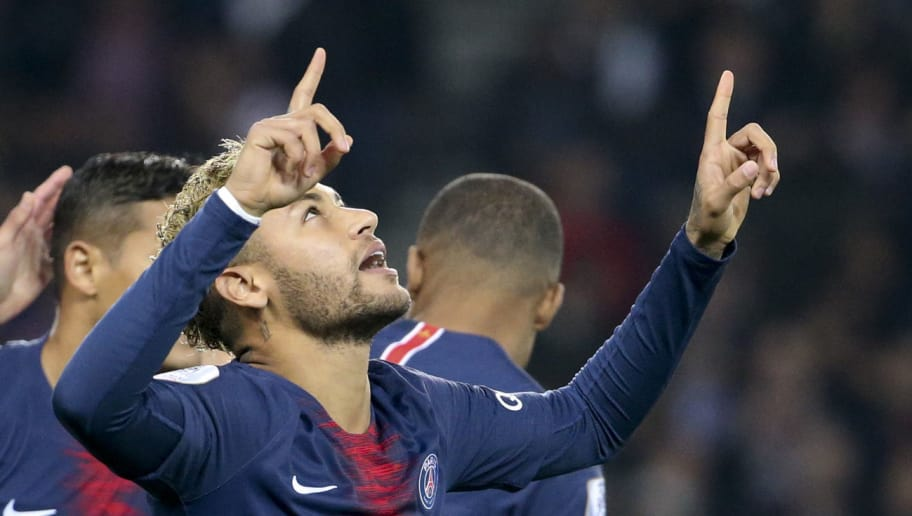 PARIS, FRANCE - OCTOBER 7: Neymar Jr of PSG celebrates his goal (penalty) during the french Ligue 1 match between Paris Saint-Germain (PSG) and Olympique Lyonnais (OL, Lyon) at Parc des Princes stadium on October 7, 2018 in Paris, France. (Photo by Jean Catuffe/Getty Images)