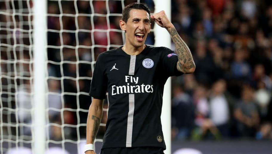PARIS, FRANCE - OCTOBER 03:  Angel Di Maria  of Paris Saint-Germain celebrate his goal during the Group C match of the UEFA Champions League between Paris Saint-Germain and Red Star Belgrade at Parc des Princes on October 3, 2018 in Paris, France.  (Photo by Xavier Laine/Getty Images)