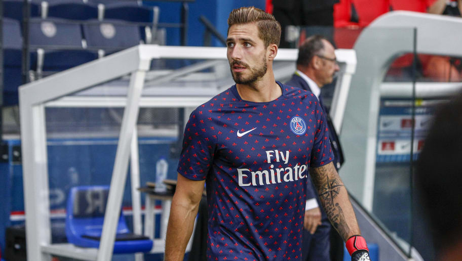 PARIS, FRANCE - AUGUST 12: Kevin Trapp #30 of Paris Saint-Germain enters the pitch for the warm-up before the Ligue 1 Conforama game between Paris Saint-Germain and SM Caen at Parc des Princes on August 12, 2018 in Paris, France. (Photo by Catherine Steenkeste/Getty Images)