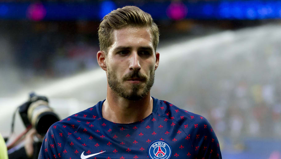PARIS, FRANCE - AUGUST 12: Goalkeeper Kevin Trapp of Paris St. Germain looks on during the Ligue 1 match between Paris Saint-Germain and SM Caen at Parc des Princes on August 12, 2018 in Paris, France. (Photo by TF-Images/Getty Images)