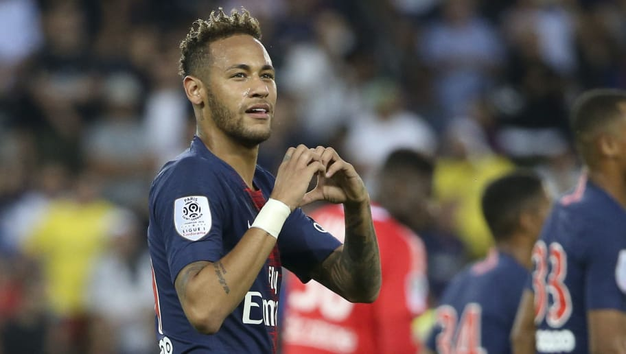 PARIS, FRANCE - AUGUST 12: Neymar Jr of PSG celebrates his goal during the french Ligue 1 match between Paris Saint-Germain and Stade Malherbe Caen at Parc des Princes stadium on August 12, 2018 in Paris, France. (Photo by Jean Catuffe/Getty Images)