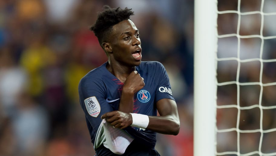 PARIS, FRANCE - AUGUST 12: Timothy Weah of Paris St. Germain celebrates after scoring his team`s third goal during the Ligue 1 match between Paris Saint-Germain and SM Caen at Parc des Princes on August 12, 2018 in Paris, France. (Photo by TF-Images/Getty Images)
