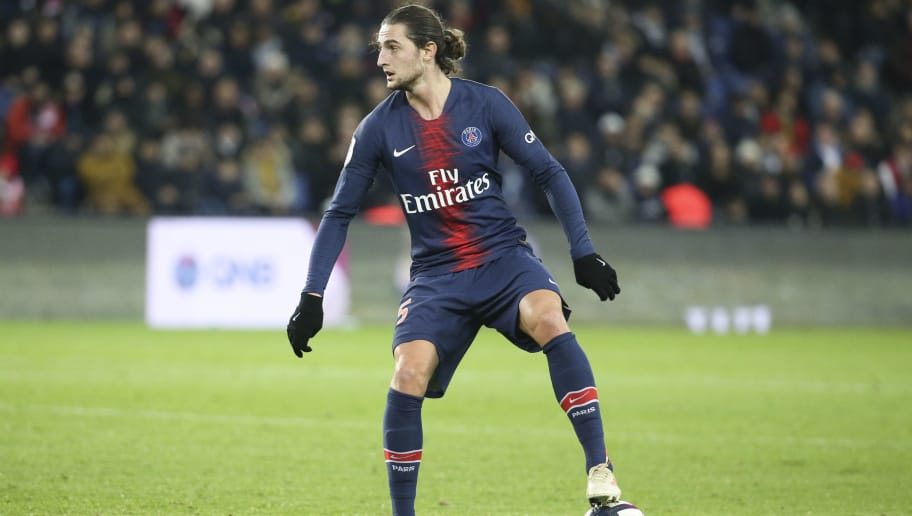 PARIS, FRANCE - NOVEMBER 24: Adrien Rabiot of PSG during the french Ligue 1 match between Paris Saint-Germain (PSG) and Toulouse FC (TFC) at Parc des Princes stadium on November 24, 2018 in Paris, France. (Photo by Jean Catuffe/Getty Images)