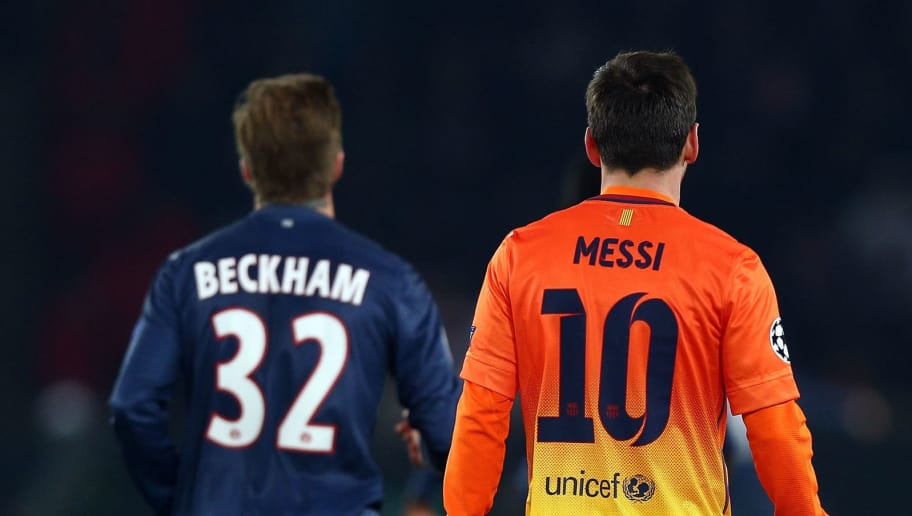 PARIS, FRANCE - APRIL 02:  Lionel Messi of Barcelona and David Beckham of Paris Saint-Germain during the UEFA Champions League Quarter Final match between Paris Saint-Germain and Barcelona FCB at Parc des Princes on April 2, 2013 in Paris, France.  (Photo by Clive Rose/Getty Images)