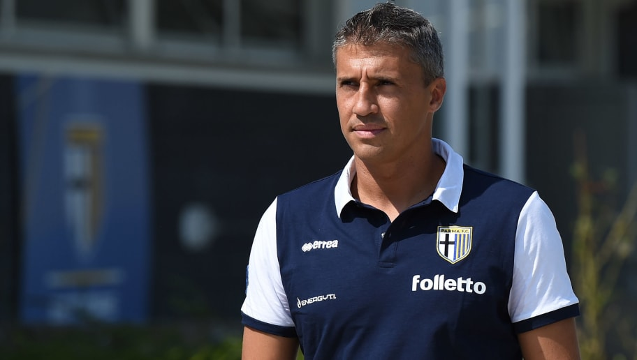 COLLECCHIO, ITALY - AUGUST 30:  Parma FC juvenile head coach Hernan Crespo looks on prior to the juvenile match between Parma FC juvenile and Virtus Entella juvenile on August 30, 2014 in Collecchio, Italy.  (Photo by Valerio Pennicino/Getty Images)