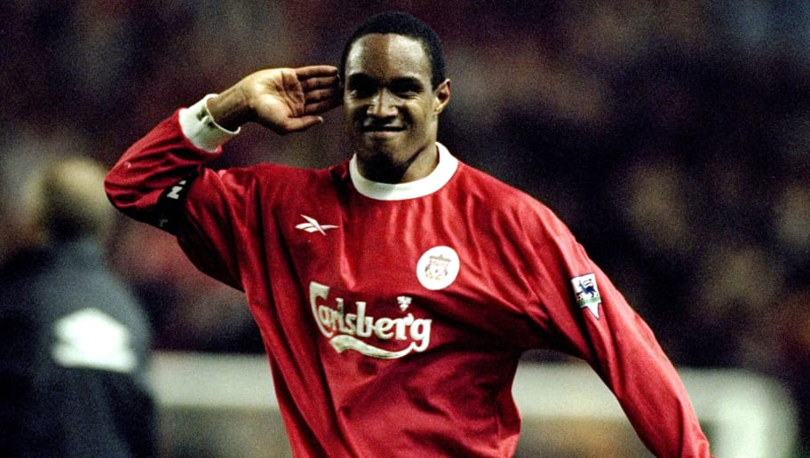 5 May 1999:  Paul Ince of Liverpool gestures toward the crowd after his goal during the FA Carling Premiership match against Manchester United played at Anfield in Liverpool, England. The game ended in a 2-2 draw. \ Mandatory Credit: Ross Kinnaird /Allsport