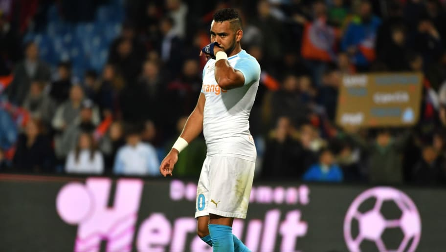 Marseille's French midfielder Dimitri Payet reacts after being defeated by Montpellier at the end of the French L1 football match between Montpellier and Marseille at the Mosson stadium in Montpellier, southern France on November 4, 2018. (Photo by PASCAL GUYOT / AFP)        (Photo credit should read PASCAL GUYOT/AFP/Getty Images)