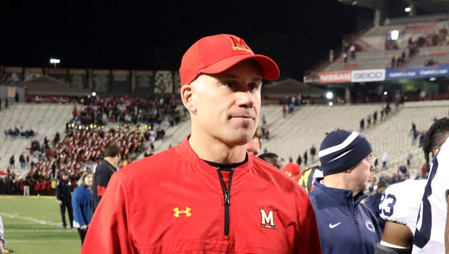 COLLEGE PARK, MD - NOVEMBER 25: Head coach DJ Durkin of the Maryland Terrapins walks off the field following the Terrapins 66-3 loss to the Penn State Nittany Lions at Capital One Field on November 25, 2017 in College Park, Maryland. (Photo by Rob Carr/Getty Images)