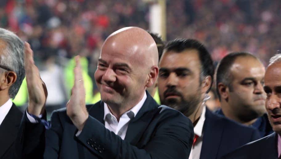 TEHRAN, IRAN - NOVEMBER 10: Gianni Infantino President of Fédération Internationale de Football Association react to women during the AFC Champions League final second leg match between Persepolis and Kashima Antlers at Azadi Stadium on November 10, 2018 in Tehran, Iran. (Photo by Amin M. Jamali/Getty Images)