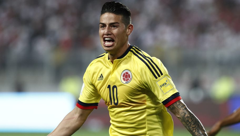 LIMA, PERU - OCTOBER 10:  James Rodriguez of Colombia celebrates after scoring the first goal of his team during match between Peru and Colombia as part of FIFA 2018 World Cup Qualifiers at National Stadium on October 10, 2017 in Lima, Peru. (Photo by Leonardo Fernandez/Getty Images)