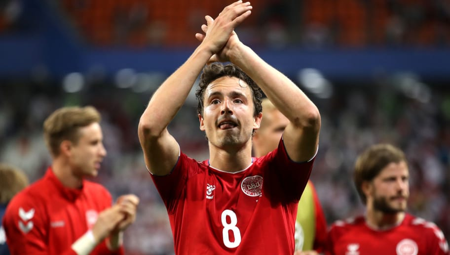 SARANSK, RUSSIA - JUNE 16:  Thomas Delaney of Denmark applauds fans after the 2018 FIFA World Cup Russia group C match between Peru and Denmark at Mordovia Arena on June 16, 2018 in Saransk, Russia.  (Photo by Clive Mason/Getty Images)