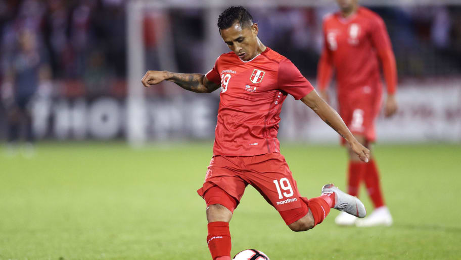 EAST HARTFORD, CT - OCTOBER 16: Yoshimar Yotun #19 of Peru takes a shot against the the United States at Rentschler Field on October 16, 2018 in East Hartford, Connecticut.(Photo by Maddie Meyer/Getty Images)