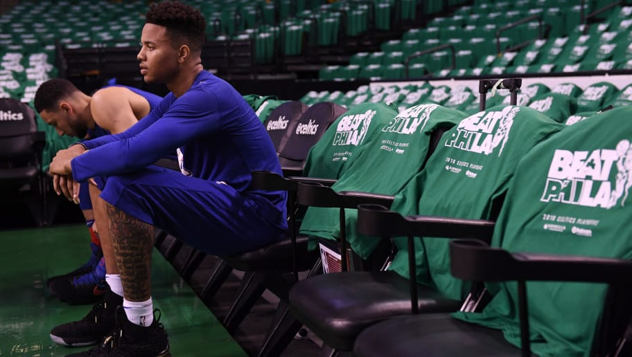 BOSTON, MA - APRIL 30: Markelle Fultz #20 of the Philadelphia 76ers before the game against the Boston Celtics in Game One of the Eastern Conference Semifinals of the 2018 NBA Playoffs on April 30, 2018 at TD Garden on April 30, 2018 in Boston, Massachusetts. NOTE TO USER: User expressly acknowledges and agrees that, by downloading and or using this photograph, User is consenting to the terms and conditions of the Getty Images License Agreement. (Photo by Matteo Marchi/Getty Images) *** Local Caption *** Markelle Fultz