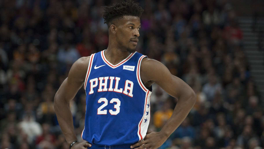 SALT LAKE CITY, UT -  DECEMBER 27: Jimmy Butler #23 of the Philadelphia 76ers looks at his bench during their game against the Utah Jazz at the Vivint Smart Home Arena on December 27, 2018 in Salt Lake City , Utah. NOTE TO USER: User expressly acknowledges and agrees that, by downloading and or using this photograph, User is consenting to the terms and conditions of the Getty Images License Agreement.(Photo by Chris Gardner/Getty Images)