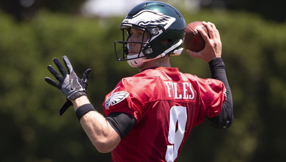 PHILADELPHIA, PA - JUNE 12: Nick Foles #9 of the Philadelphia Eagles passes the ball during Eagles minicamp at the NovaCare Complex on June 12, 2018 in Philadelphia, Pennsylvania. (Photo by Mitchell Leff/Getty Images)