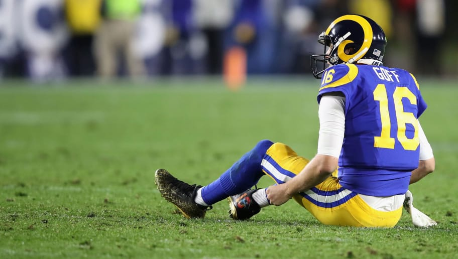 LOS ANGELES, CA - DECEMBER 16:  Jared Goff #16 of the Los Angeles Rams looks on after throwing an intereception during the second half of a game against the Philadelphia Eagles at Los Angeles Memorial Coliseum on December 16, 2018 in Los Angeles, California.  (Photo by Sean M. Haffey/Getty Images)